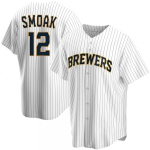 Men's Milwaukee Brewers Justin Smoak Replica White Home Jersey