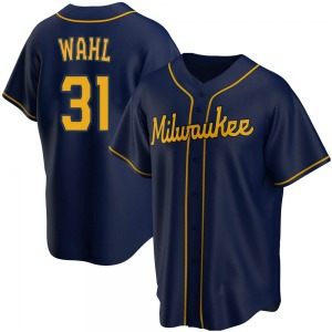 Youth Milwaukee Brewers Bobby Wahl Replica Navy Alternate Jersey