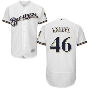 Youth Majestic Milwaukee Brewers Corey Knebel Replica White Home Flex Base Collection Jersey